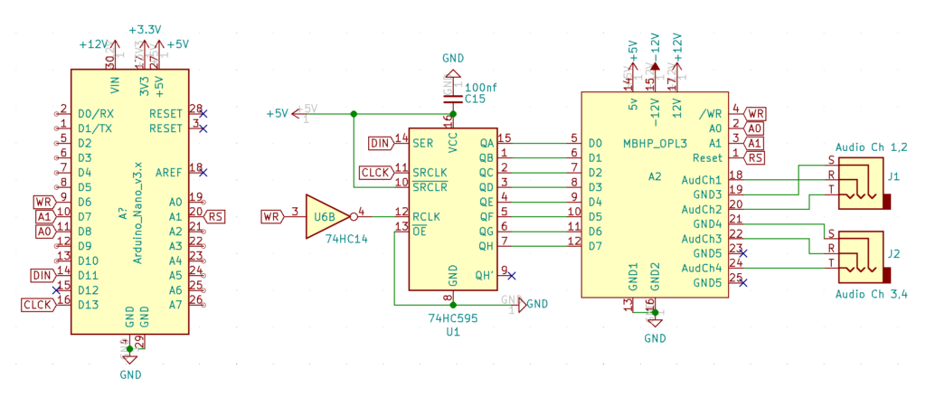 Schematic showing how the MidiBox OPL3 module connects to an Arduino through a 74HC595