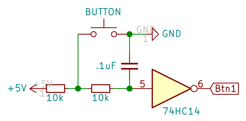 Schematic showing a debounced button