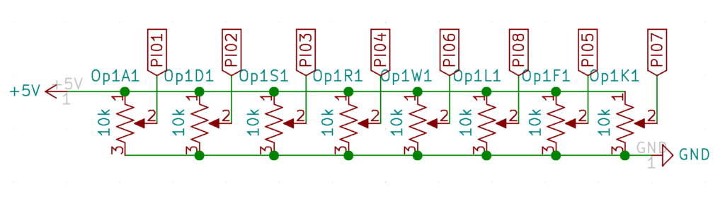 Schematic showing how potentiometers are connected to ports on the CD4051 channels
