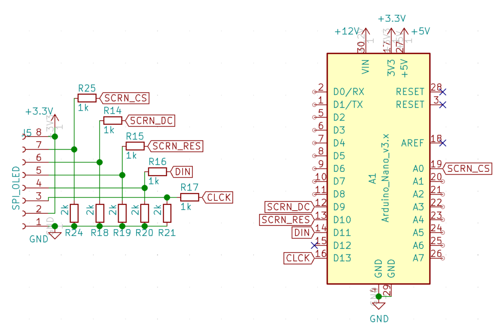 Schematic showing connection of the LCD screen to an Arduino