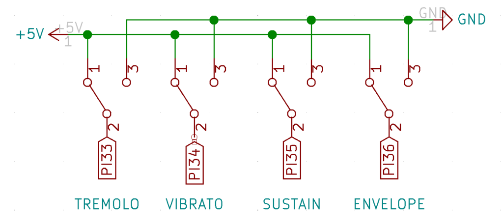 Schematic showing that switches connect directly to ground and +5v