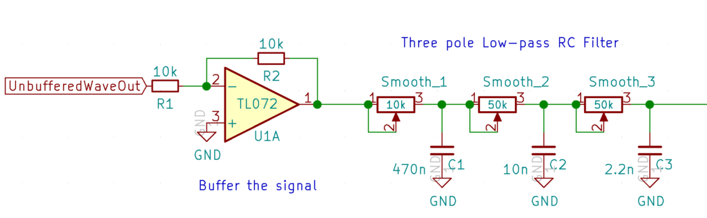 Basic 3-pole low-pass RC filter