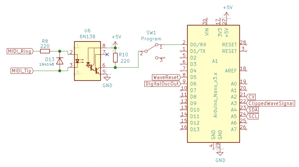 Arduino Nano Connections & MIDI Interface